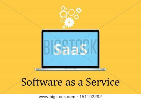 saas software as a service concept with laptop and poster text with gear icon vector