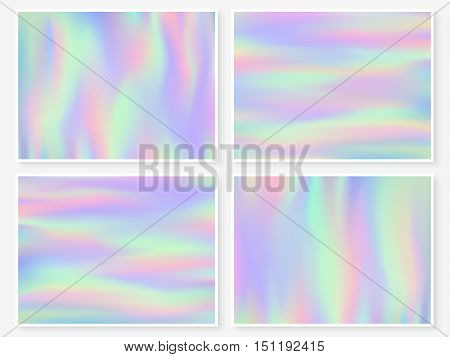 Holographic background. Vibrant neon pastel texture. Hologram glitch for web design. Trendy hipster vector background for fashion or printed products.