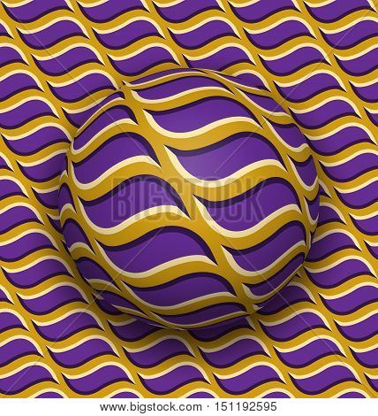 Ball rolls along surface. Abstract vector optical illusion illustration. Purple waves on golden pattern motion background. Tile of seamless wallpaper.