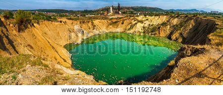 Solotvyno Ukraine - September 29. 2016: Start of ecological disaster - sinkhole in the territory of an abandoned mine, which previously mined salt.