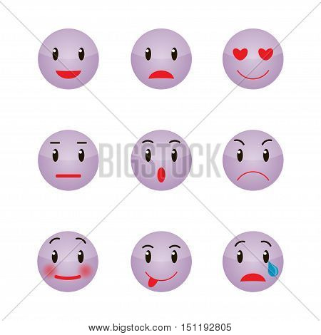 Set of Emoticons. Set of Emoji. Vector illustration