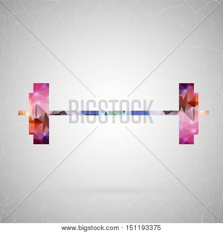 Abstract creative concept vector icon of barbell. For web and mobile content isolated on background, unusual template design, flat silhouette object and social media image, triangle art origami.
