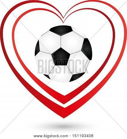Football, ball and heart, sports and football logo