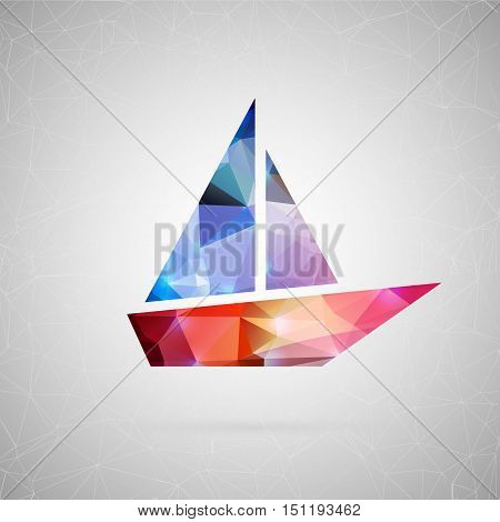 Abstract creative concept vector icon of boat. For web and mobile content isolated on background, unusual template design, flat silhouette object and social media image, triangle art origami.