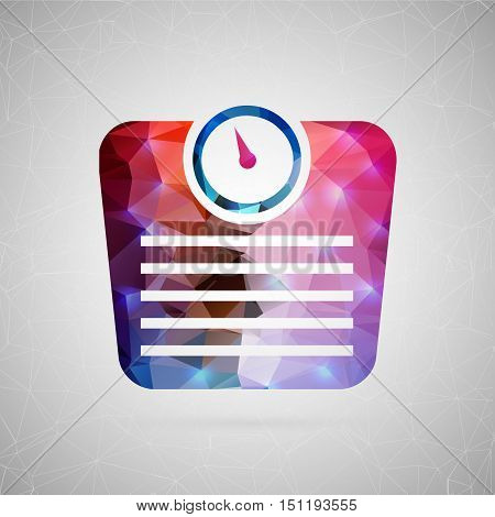 Abstract creative concept vector icon of scale. For web and mobile content isolated on background, unusual template design, flat silhouette object and social media image, triangle art origami.