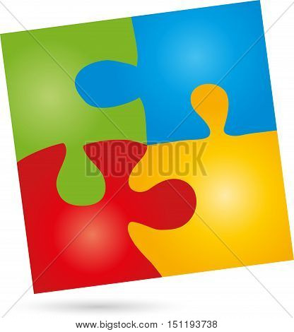 Puzzle and game logo, rectangle colored, square