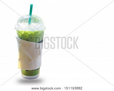 Cold green tea on white for food .