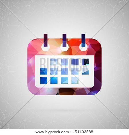 Abstract creative concept vector icon of calendar. For web and mobile content isolated on background, unusual template design, flat silhouette object and social media image, triangle art origami.