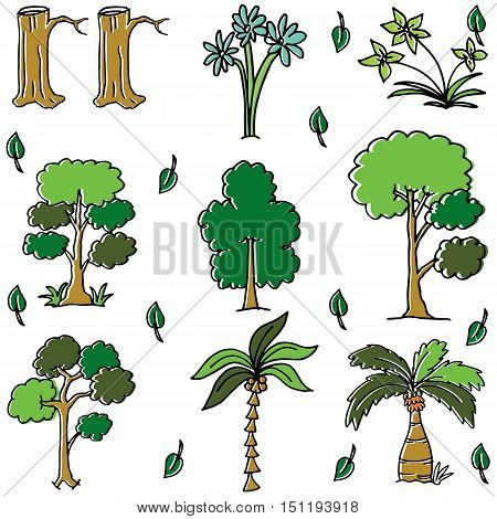 Different tree in doodles vector art illustration