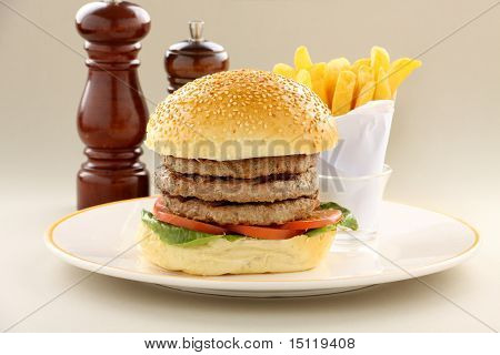 Triple Decker Hamburger
