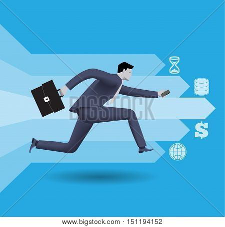 Digital market race business concept. Confident businessman in business suit with case in one hand and smart phone in other runs in race on global digital market created from money and data.