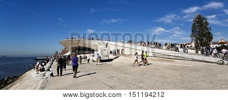 LISBON, PORTUGAL - October 5, 2016: Crowd at the opening of the world newest museum the MAAT (Museum of Art Architecture and Technology) in Lisbon Portugal