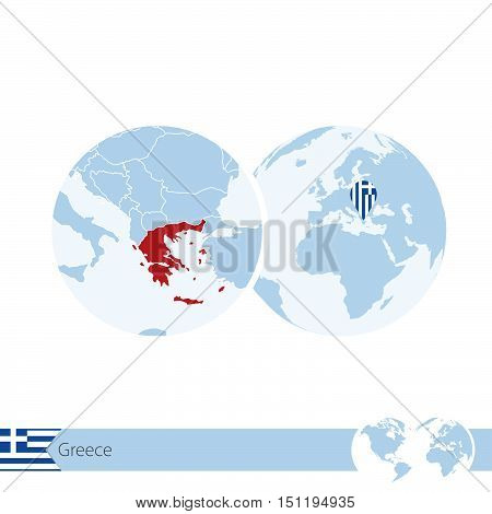 Greece On World Globe With Flag And Regional Map Of Greece.