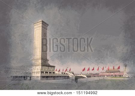 Monument to the People's Heroes on Tian'anmen Square - the third largest square in the world, Beijing, China. Vintage painting, background illustration, beautiful picture, travel texture