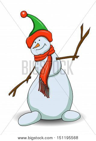 Illustration Snowman in Green Shade on a White Background