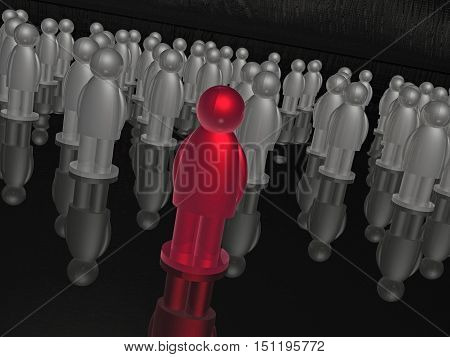 Red and grey mans on black reflective background 3D illustration.
