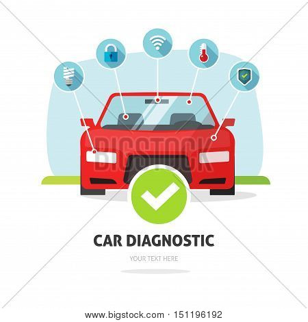 Car diagnostic service concept vector illustration, auto maintenance test station banner, car repair diagnostics center poster isolated on white background