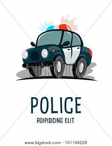cartoon police car isolated on hite background vector illustration