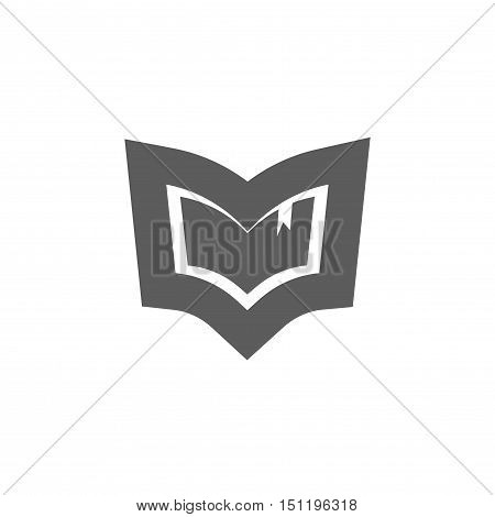 Book logo vector emblem isolated on white background, concept of library logotype, education crest symbol, book outlined shape, knowledge