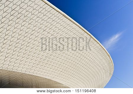 LISBON, PORTUGAL - October 5, 2016: Architectural detail of the MAAT (Museum of Art Architecture and Technology) building in Lisbon Portugal