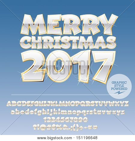 Vector whiter Merry Christmas 2017 greeting card with set of letters, symbols and numbers. File contains graphic styles