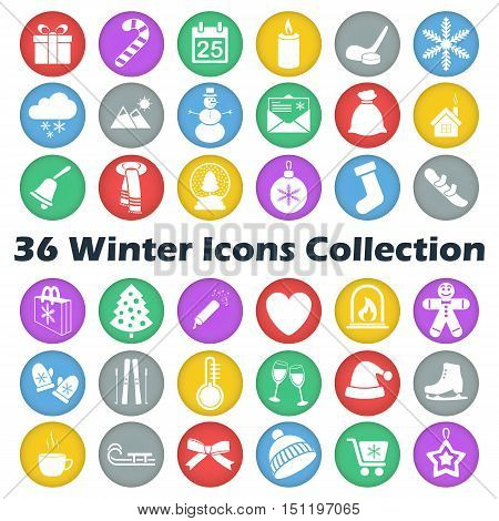 Vector color winter circle icon collection on white background