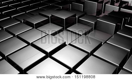 Black 3d glossy plastic cubes smoothly illuminated - abstract technology background. 3D rendering.