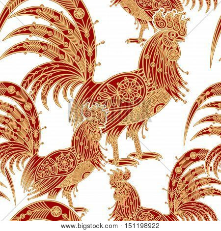 Fire roosters. Illustration seamless vector pattern. Gold bird on a white background. Foil printing. Decorative illustration for paper, fabrics, packaging of Christmas gifts for new year 2017.
