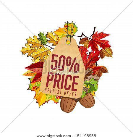 Autumn seasonal sale badge, vector illustration. Exclusive price, special offer label in vintage style on white background with colorful autumn leaves. Autumnal discount template.