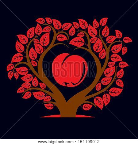 Vector Illustration Of Tree With Branches In The Shape Of Heart With An Apple Inside, Love And Mothe