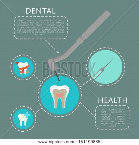 Dental health banner with dentist drill and teeth symbols, vector illustration. Dentistry equipment and tools. Dental treatment infographics. Tooth care and restoration, stomatology and orthodontics. Dental infographics. Dental care concept. Dental equipm poster