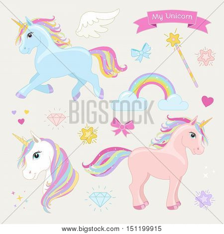 Unicorn set with running unicorn standing unicorn unicorn head hearts clouds rainbow magic wand stars bows diamonds wing and text: My Unicorn.
