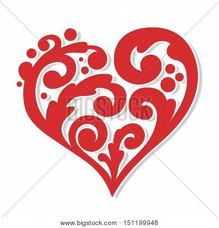 swirly red heart symbol love romantic concept vector design
