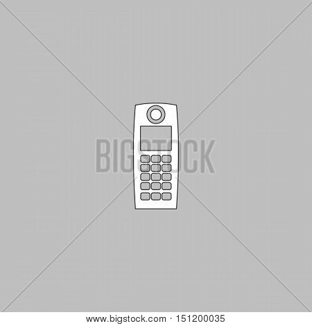 walkie talkie Simple line vector button. Thin line illustration icon. White outline symbol on grey background