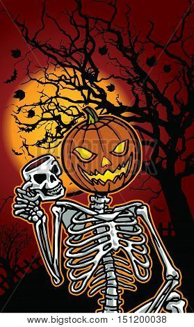 Illustration of Halloween pumpkin skeleton with cup