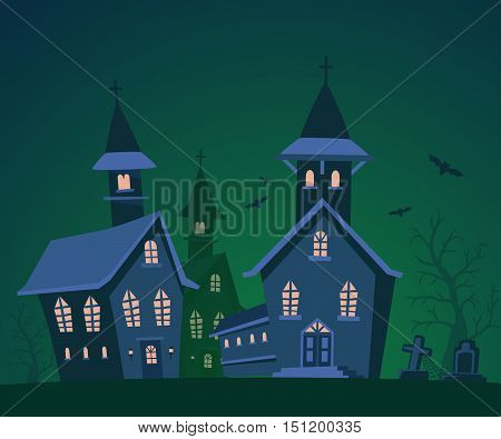Vector Halloween Illustration Of Haunted House, Cemetery, Bats With Trees On Dark Green Background.