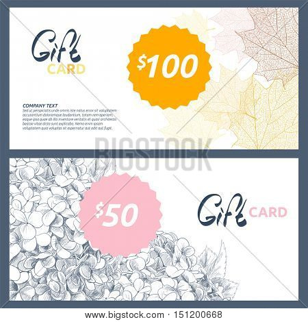 Gift card with blooming hydrangeas and colorful autumn leaves