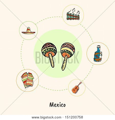 Attractive Mexico. Maracas colored doodle surrounded guitar, bottle of tequila, folk flute, sombrero, poncho hand drawn vector icons. Mexican cultural music symbols. Travel in Latin America