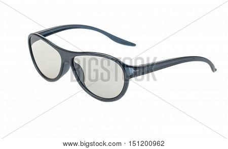 Black plastic 3D glasses isolated on a white background