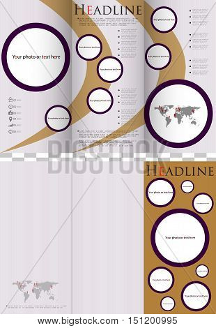 Business design of a flyer, white-gold-violet ornament for business.