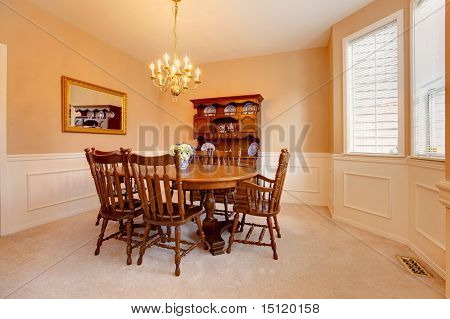 Classy Creamy Dining Room With Antique Furniture