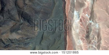 Allegory of the border, in the end, the beginning, limit, change, green and pink, photography abstract landscapes of deserts of Africa from the air, collection of Abstract Naturalism Munimara
