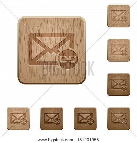 Set of carved wooden mail attachment buttons in 8 variations.