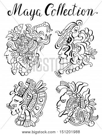 Graphic set with native amercian indians, maya, inca or aztecs portraits with headdresses. Tribal boho hair styles. Vector graphic and doodle illustration, ethnic sketches, faces of warriors on white