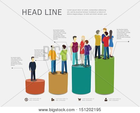 People are standing on bar chart. Career ladder concept. Vector illustration.