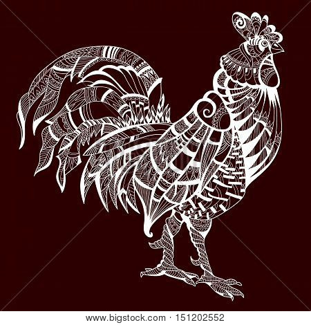 Cock. Bird. Animal. White on brown fone.Petuh style zentangl. Coloring for adults. Anti-stress. The symbol of the year