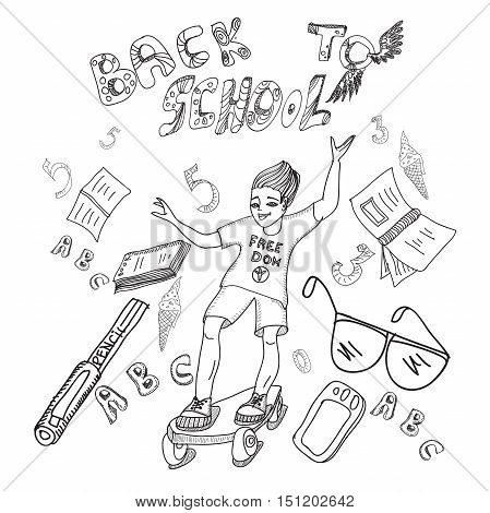 Hand drawn multicolor sketch of a boy on a skateboard and school supplies and the words Back to school.