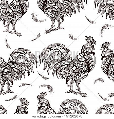 Pattern with rooster on white background. Cock. Animal. Bird. Seamless pattern. Figure for textiles. Seamless