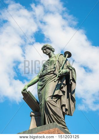 Monument to Karamzin - a monument installed in Simbirsk in 1845 in honor of a native of Simbirsk Russian historian and writer Nikolai Karamzin. The author of the sculptor Galberg. Russia, Ulyanovsk. June 23, 2016