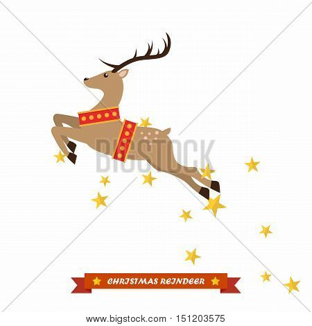 Christmas reindeer vector illustration isolated on white background